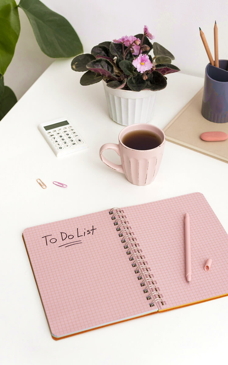 cute notebook with to do list