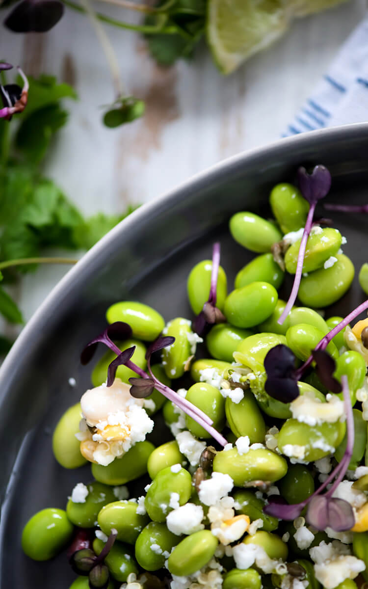 edamame salad with goat cheese
