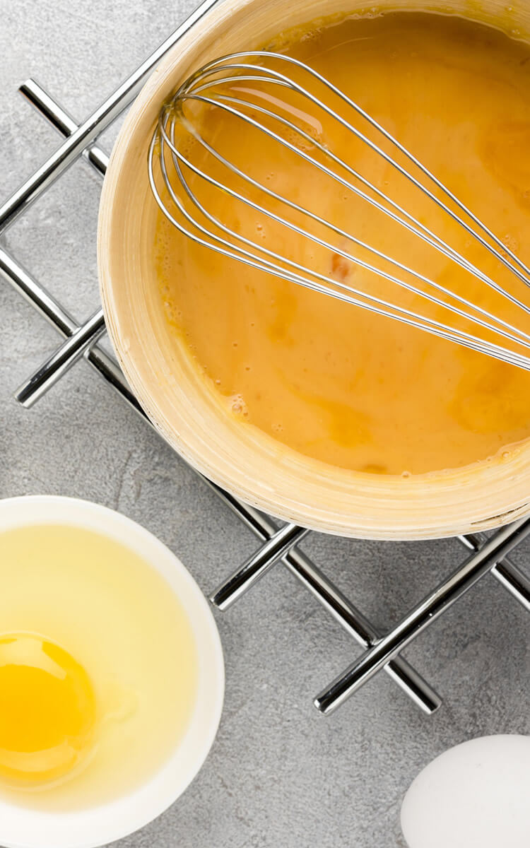 eggs whisked ready for an egg shampoo