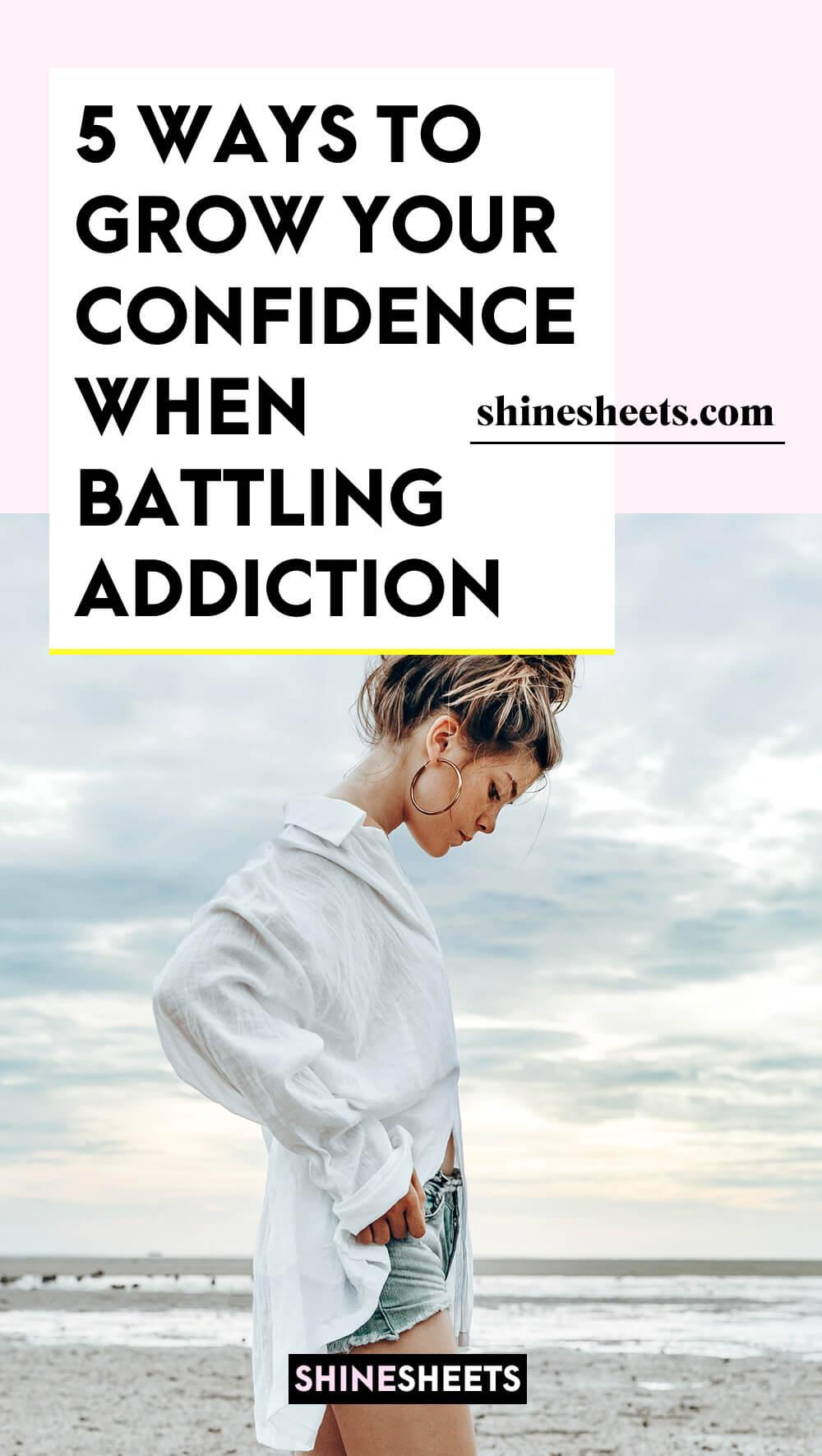 shy woman battling addiction