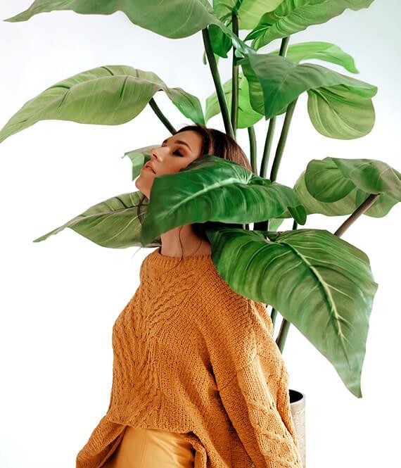 woman with eco fashion art