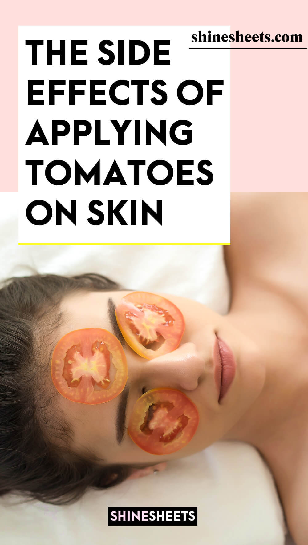 woman with tomato skincare mask