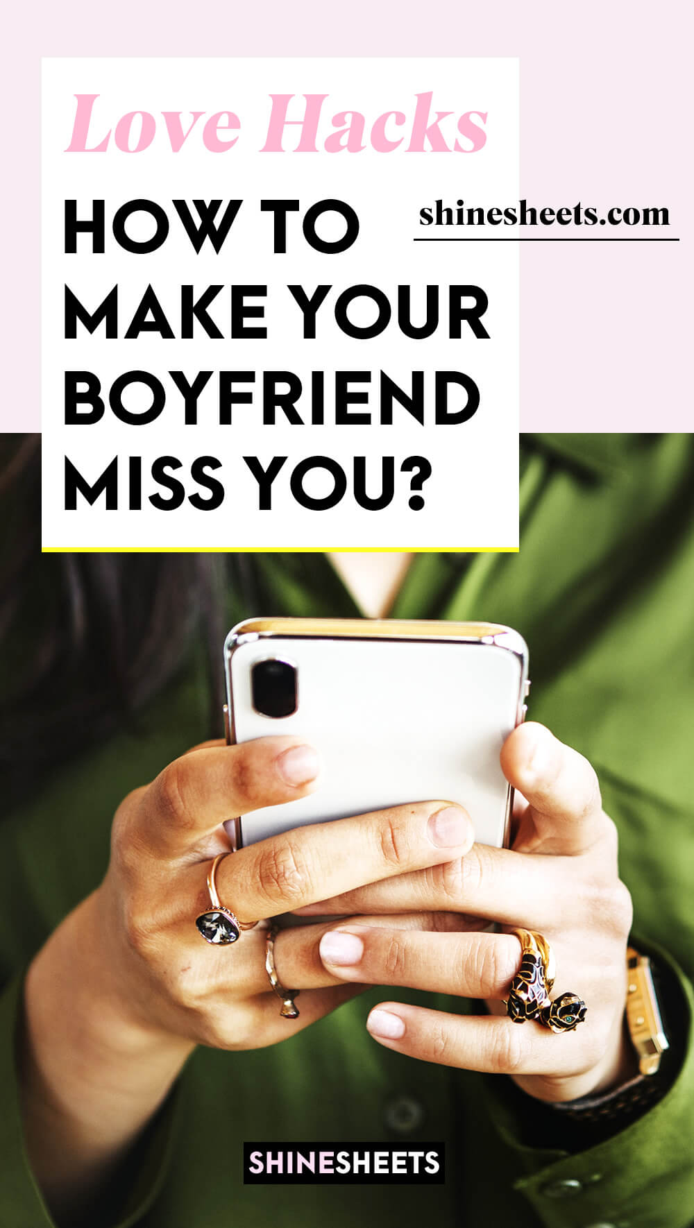 young woman with green shirt texting her boyfriend