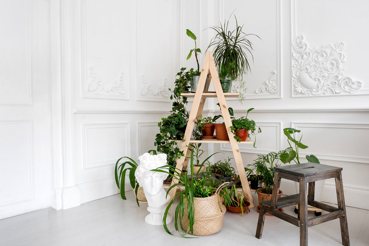 diy plant stand made from wooden ladders
