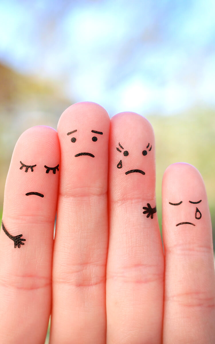finger art unhappy family