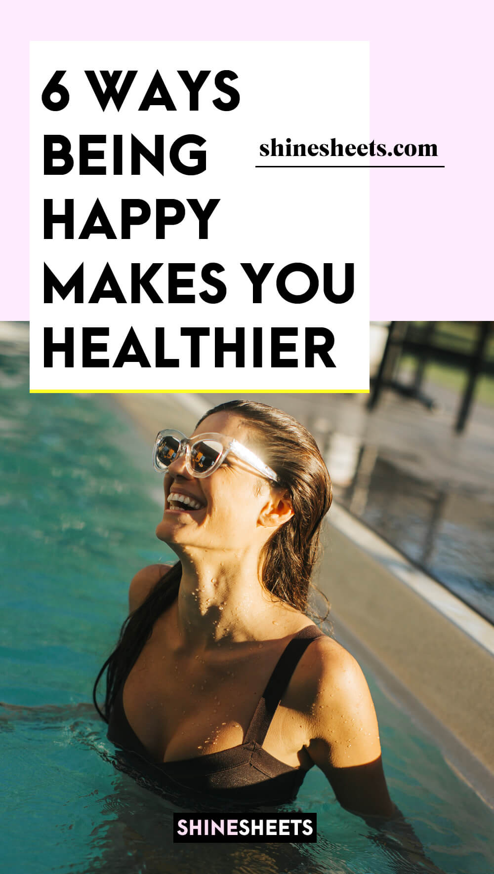 happy smiling healthy woman in a pool