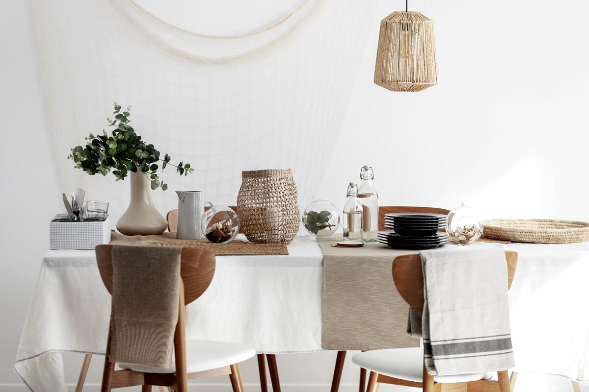 various tablecloths as home decor