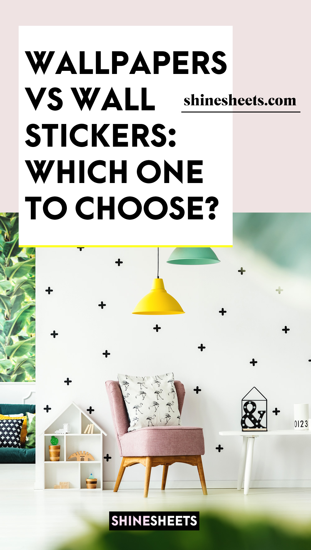 wall with stickers decor