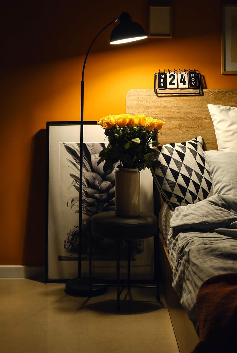 cosy bed at night