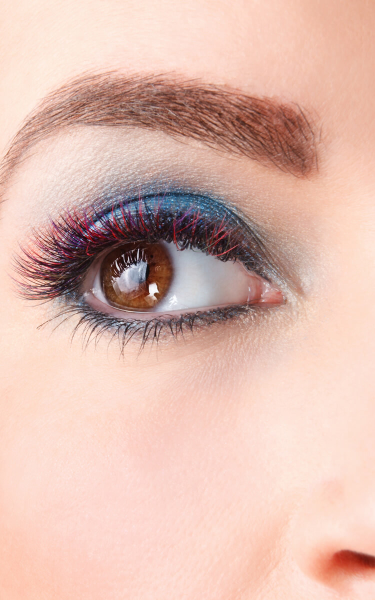 woman with pretty colored lashes
