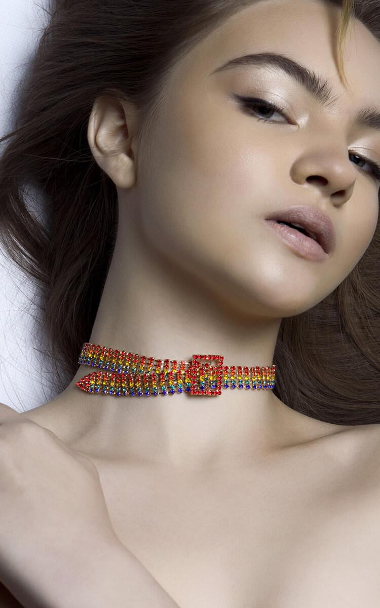 woman with a jeweled chocker